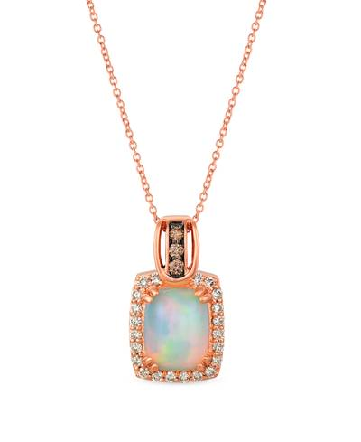14K Strawberry Gold® Neopolitan Opal™ 1  5/8 cts. Pendant with Chocolate Diamonds® 1/15 cts., Nude Diamonds™ 1/3 cts. | SVHV 15