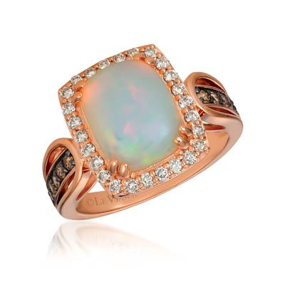 14K Strawberry Gold® Neopolitan Opal™ 2 cts. Ring with Chocolate Diamonds® 1/5 cts., Nude Diamonds 1/3 cts. | SVHV 30