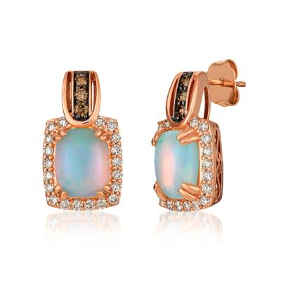 14K Strawberry Gold® Neopolitan Opal™ 1  3/4 cts. Earrings with Chocolate Diamonds® 1/6 cts., Nude Diamonds™ 1/2 cts. | SVHV 5