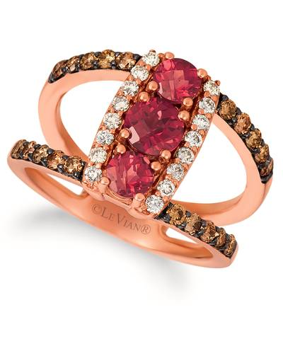 14K Strawberry Gold® Raspberry Rhodolite® 1 cts. Ring with Chocolate Diamonds® 3/8 cts., Nude Diamonds 1/5 cts. | SVHW 32