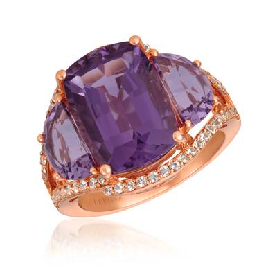 14K Strawberry Gold® Grape Amethyst™ 7  1/2 cts., White Sapphire 3/8 cts. Ring | SVHW 38