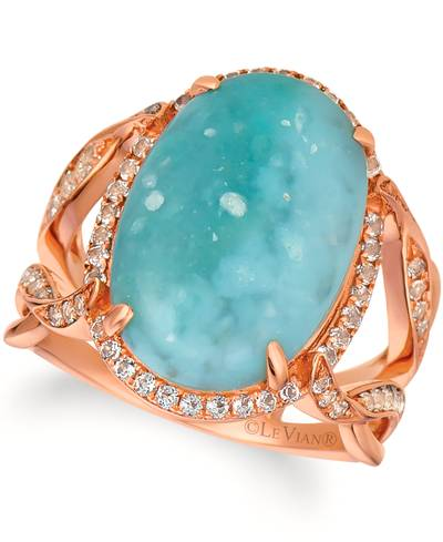 14K Strawberry Gold® Aquaprase Turquoise 6  1/2 cts., Vanilla Topaz™ 1/2 cts. Ring | SVHW 43