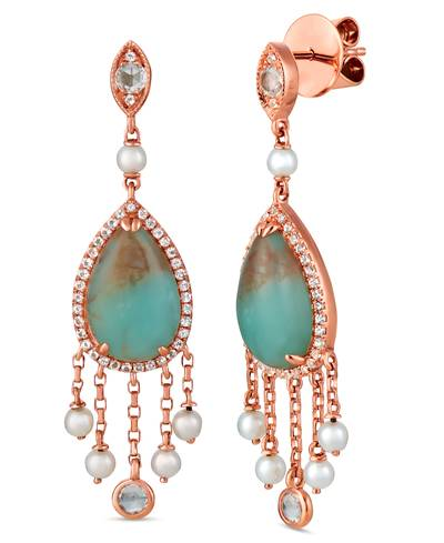 14K Strawberry Gold® Aquaprase Turquoise 5  1/5 cts., Vanilla Topaz™ 3/4 cts., Vanilla Pearls™  cts. Earrings | SVHW 47
