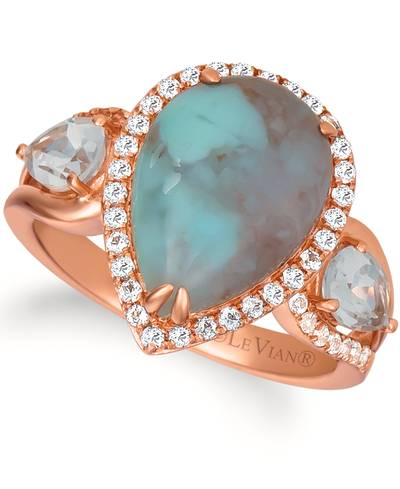 14K Strawberry Gold® Aquaprase Turquoise 3  3/8 cts., Vanilla Topaz™ 1  1/4 cts. Ring | SVHW 56