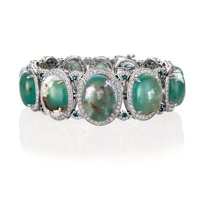 14K Vanilla Gold® Aquaprase Candy 77.800 cts., Deep Sea Blue Topaz™ 1/2 cts. Bracelet with Nude Diamonds 6  1/2 cts. | SVHW 74
