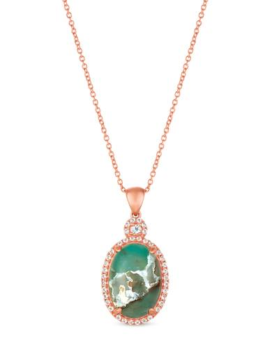 14K Strawberry Gold® Aquaprase Candy 3  1/2 cts., Vanilla Topaz™ 1/5 cts. Pendant | SVHY 2