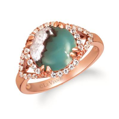 14K Strawberry Gold® Aquaprase Candy 2  1/4 cts., Vanilla Topaz™ 1/3 cts. Ring | SVHY 38