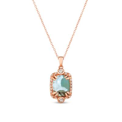 14K Strawberry Gold® Aquaprase Candy 2 cts., Vanilla Topaz™ 1/3 cts. Pendant | SVHY 42
