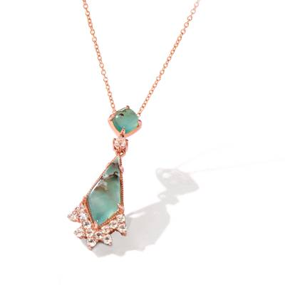 14K Strawberry Gold® Aquaprase Candy 2  3/8 cts., Vanilla Topaz™ 3/8 cts. Pendant | SVHZ 19