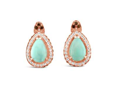 14K Strawberry Gold® Aquaprase Turquoise 2  1/5 cts., Chocolate Quartz® 7/8 cts., Vanilla Topaz™ 3/4 cts. Earrings | SVIC 19