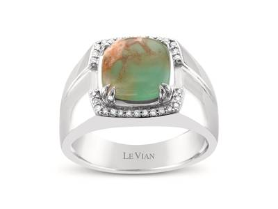 14K Vanilla Gold® Aquaprase Turquoise 2  3/4 cts. Ring with Vanilla Diamonds® 1/8 cts. | SVII 21
