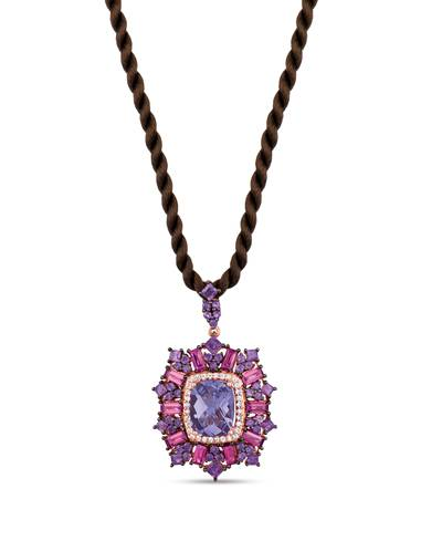 14K Strawberry Gold® Grape Amethyst™ 3  1/4 cts., Raspberry Rhodolite® 1  1/2 cts., White Sapphire 1/8 cts. Pendant | SVIJ 2