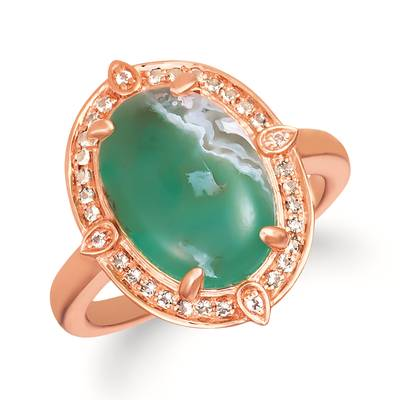 14K Strawberry Gold® Aquaprase Candy 3  7/8 cts., Vanilla Topaz™  cts., Chocolate Quartz® 1/10 cts. Ring | SVIK 1