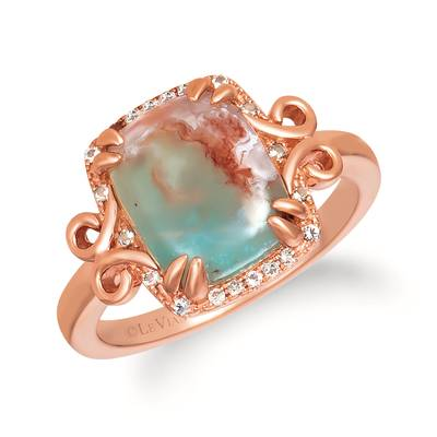 14K Strawberry Gold® Aquaprase Candy 3 cts., Vanilla Topaz™  cts., Chocolate Quartz® 1/20 cts. Ring | SVIK 21