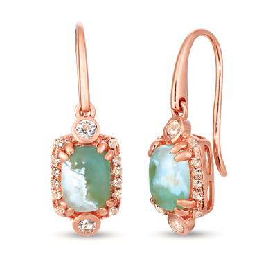 14K Strawberry Gold® Aquaprase Candy 2  1/5 cts., Vanilla Topaz™ 1/4 cts., Chocolate Quartz® 1/6 cts. Earrings | SVIK 5