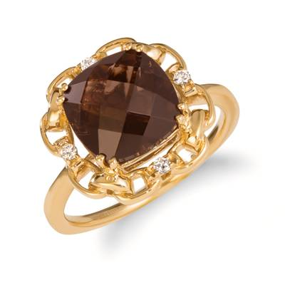 14K Honey Gold™ Chocolate Quartz® 3  1/2 cts. Ring with Nude Diamonds™ 1/20 cts. | SVJP 16