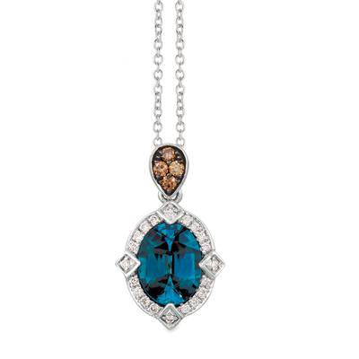 14K Vanilla Gold® Deep Sea Blue Topaz™ 1  7/8 cts. Pendant with Chocolate Diamonds® 1/15 cts., Nude Diamonds 1/10 cts. | SVJP 29