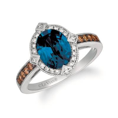 14K Vanilla Gold® Deep Sea Blue Topaz™ 1  7/8 cts. Ring with Chocolate Diamonds® 1/5 cts., Nude Diamonds™ 1/10 cts. | SVJP 30