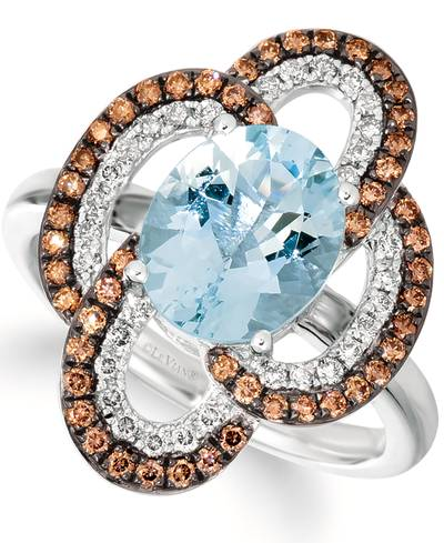 14K Vanilla Gold® Sea Blue Aquamarine® 2 cts. Ring with Nude Diamonds™ 1/4 cts., Chocolate Diamonds® 1/3 cts. | SVJP 35