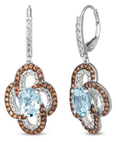 14K Vanilla Gold® Sea Blue Aquamarine® 2 cts. Earrings with Nude Diamonds™ 5/8 cts., Chocolate Diamonds® 5/8 cts. | SVJP 37