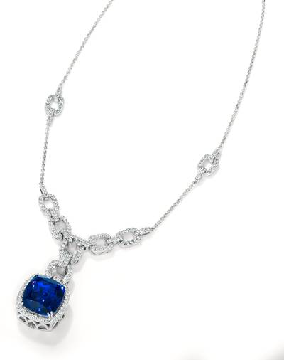 Blueberry Tanzanite® 19 cts. Adjnecklc with Chocolate Diamonds® 1/8 cts., Vanilla Diamonds® 2  3/8 cts. | TIMK 2326
