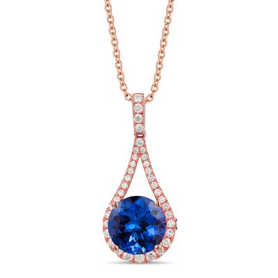 18K Strawberry Gold® Blueberry Tanzanite® 6  1/3 cts. Pendant with Vanilla Diamonds® 1/2 cts., Chocolate Diamonds® 1/20 cts. | TIMK 2337