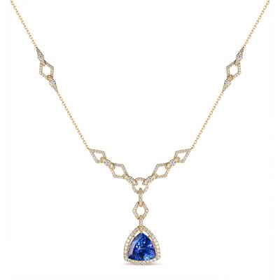 Blueberry Tanzanite® 12 1/4 cts. Adjnecklc with Vanilla Diamonds® 2  1/2 cts., Chocolate Diamonds® 1/10 cts. | TIMK 2346