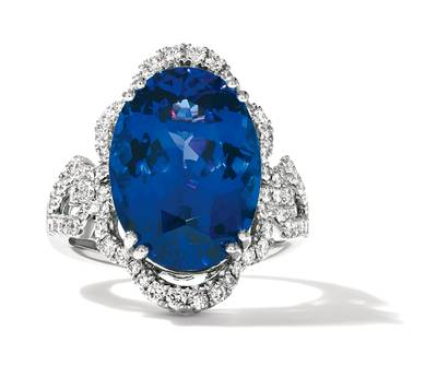 P95 Blueberry Tanzanite® 11 3/4 cts. Ring with Chocolate Diamonds® 1/6 cts., Vanilla Diamonds® 7/8 cts. | TIMK 2357
