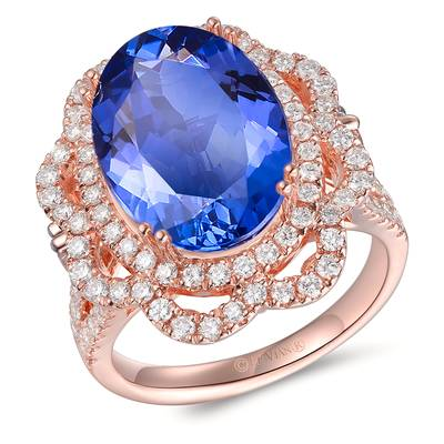 18K Strawberry Gold® Blueberry Tanzanite® 8  1/5 cts. Ring with Chocolate Diamonds® 1/3 cts., Vanilla Diamonds® 1  1/8 cts. | TIMK 2358