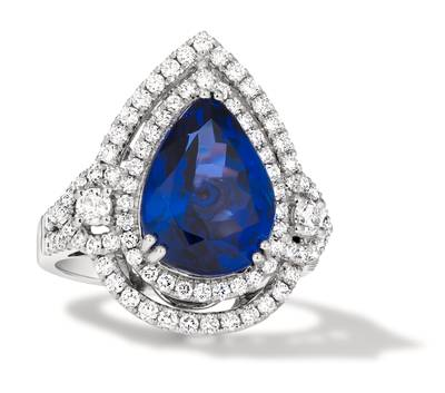 18K Vanilla Gold® Blueberry Tanzanite® 7  7/8 cts. Ring with Vanilla Diamonds® 1  1/6 cts., Chocolate Diamonds®  cts. | TIMK 2378