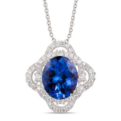 18K Vanilla Gold® Blueberry Tanzanite® 8 cts. Pendant with Vanilla Diamonds® 7/8 cts., Chocolate Diamonds® 1/10 cts. | TIMK 2382