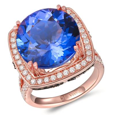 18K Strawberry Gold® Blueberry Tanzanite® 17 1/4 cts. Ring with Chocolate Diamonds® 3/4 cts., Vanilla Diamonds® 3/4 cts. | TIMK 2389