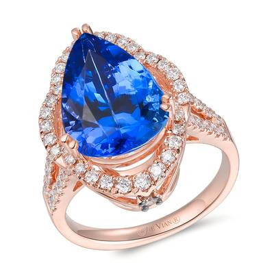 18K Strawberry Gold® Blueberry Tanzanite® 7  7/8 cts. Ring with Vanilla Diamonds® 3/4 cts., Chocolate Diamonds® 1/20 cts. | TIMK 2404