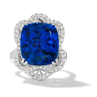 18K Vanilla Gold® Blueberry Tanzanite® 17 1/8 cts. Ring with Vanilla Diamonds® 7/8 cts., Chocolate Diamonds® 1/3 cts. | TIMK 2406