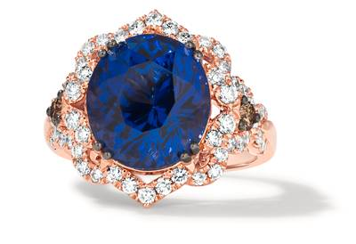 18K Strawberry Gold® Blueberry Tanzanite® 8  5/8 cts. Ring with Chocolate Diamonds® 1/5 cts., Vanilla Diamonds® 3/4 cts. | TIMK 2417