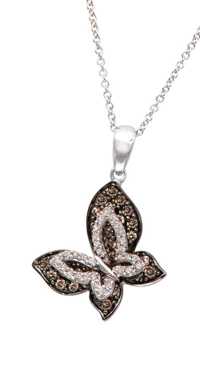 14K Vanilla Gold® Pendant with Chocolate Diamonds® 1/2 cts., Vanilla Diamonds® 1/8 cts. | TPIK 2