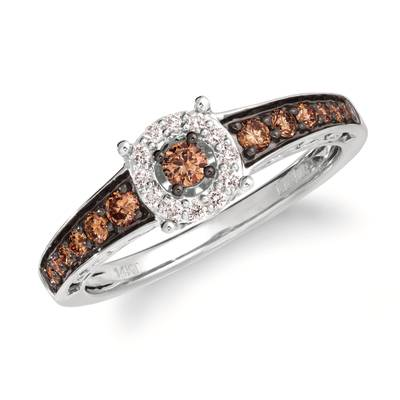 14K Vanilla Gold® Ring with Chocolate Diamonds® 3/8 cts., Vanilla Diamonds® 1/10 cts. | TQCO 1WG