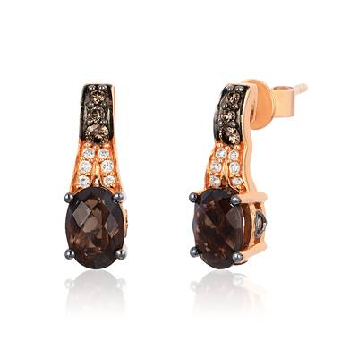 14K Strawberry Gold® Chocolate Quartz® 1  1/3 cts. Earrings with Chocolate Diamonds® 1/6 cts., Vanilla Diamonds® 1/20 cts. | TQDJ 1ER