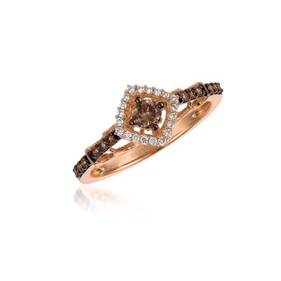 14K Strawberry Gold® Ring with Chocolate Diamonds® 1/3 cts., Vanilla Diamonds® 1/15 cts. | TQEN 51