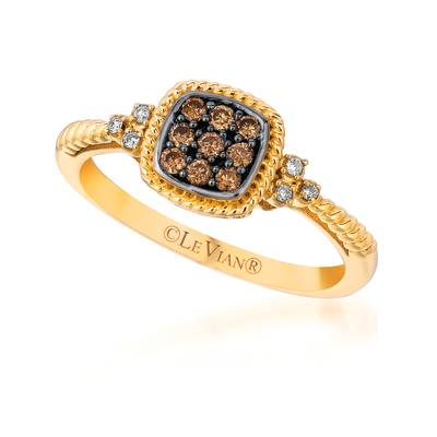 14K Honey Gold™ Ring with Chocolate Diamonds® 1/6 cts., Vanilla Diamonds®  cts. | TQEN 84