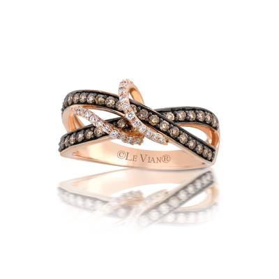 14K Strawberry Gold® Ring with Chocolate Diamonds® 3/8 cts., Vanilla Diamonds® 1/10 cts. | TQHO 1