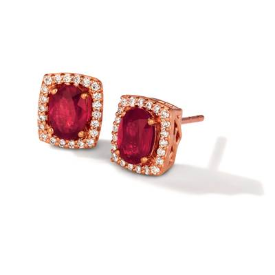 14K Strawberry Gold® Passion Ruby™ 1 cts. Earrings with Vanilla Diamonds® 1/6 cts. | TQLT 14