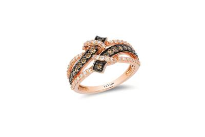 14K Strawberry Gold® Ring with Chocolate Diamonds® 3/8 cts., Vanilla Diamonds® 1/3 cts. | TQMA 44