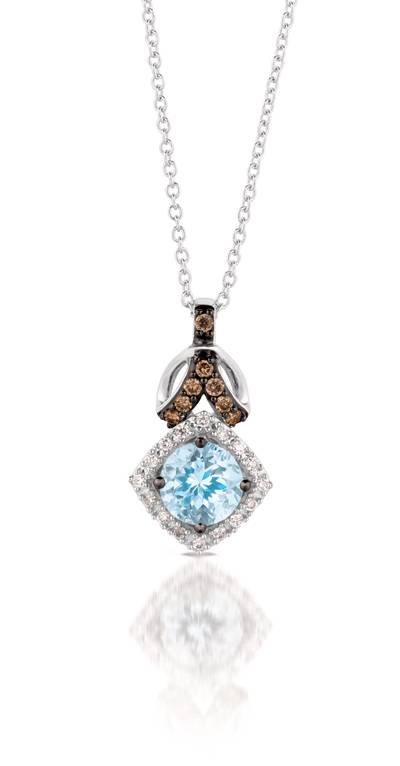 14K Vanilla Gold® Sea Blue Aquamarine® 5/8 cts. Pendant with Chocolate Diamonds® 1/15 cts., Vanilla Diamonds® 1/15 cts. | TQML 21