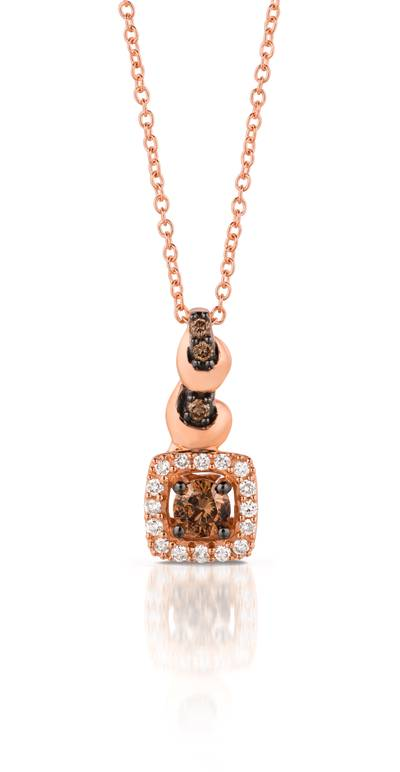 14K Strawberry Gold® Pendant with Chocolate Diamonds® 1/5 cts., Vanilla Diamonds® 1/10 cts. | TQML 9