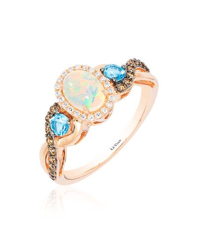 14K Strawberry Gold® Neopolitan Opal™ 1/2 cts., Blue Topaz 1/4 cts. Ring with Chocolate Diamonds® 1/5 cts., Vanilla Diamonds® 1/10 cts. | TQPQ 18