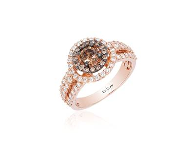 14K Strawberry Gold® Ring with Chocolate Diamonds® 5/8 cts., Vanilla Diamonds® 5/8 cts. | TQRW 18