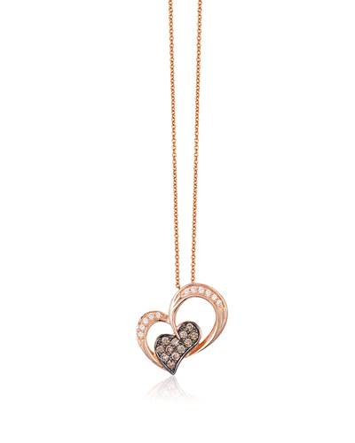 14K Strawberry Gold® Pendant with Chocolate Diamonds® 1/6 cts., Vanilla Diamonds® 1/20 cts. | TQRW 20