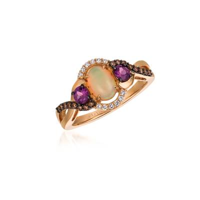 14K Strawberry Gold® Neopolitan Opal™ 1/2 cts., Raspberry Rhodolite® 3/8 cts. Ring | TQTI 69