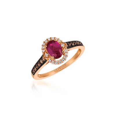 14K Strawberry Gold® Passion Ruby™ 7/8 cts. Ring with Chocolate Diamonds® 1/8 cts., Vanilla Diamonds® 1/10 cts. | TQWA 63